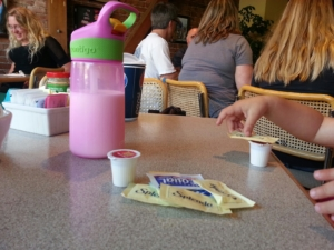 Creamers and sugar packets are our friends.