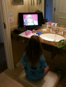 Bathroom televisions: Better than stuffed animals.