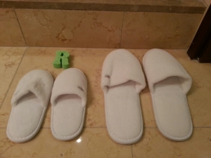 Daughter/Daddy slippers at the Four Seasons, Silicon Valley.