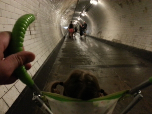Baby's-eye view of the Greenwich Foot Tunnel.