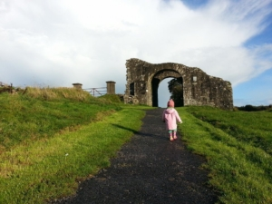 Little R, exploring a castle in Trim, Ireland.