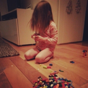 L and her Legos. Sometime between 4 and 6 a.m.
