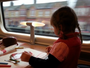 Little R, loved every minute on the high-speed train.