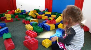 R, getting busy with blocks in Duplo Village.