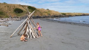 Building teepees at Eagle Cove.