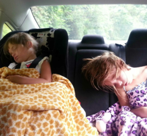 Sleeping beauties. In the car.